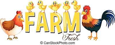 Font Design für Wortfarm mit Hühnern.