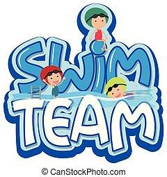 Font Design für Wortschwimmteam mit drei Schwimmern.
