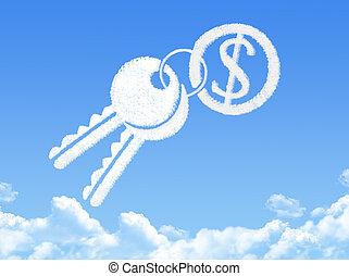 form, dollar, schlüssel, wolke