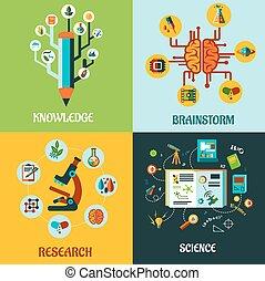 Forschung, Wissenschaft und Gehirnsturm flache Konzepte.