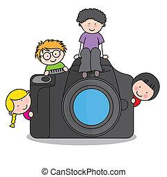 fotoapperat, kinder