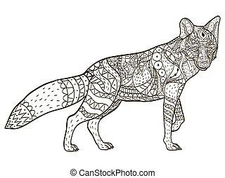 Fox Coloring Buchvektoren für Erwachsene