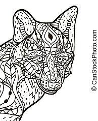 Fox Head Coloring Buch Vektor für Erwachsene