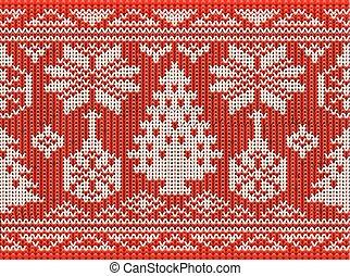 fröhlich, glück, vektor, hintergrund, weihnachten, seamless, abbildung, gestrickt