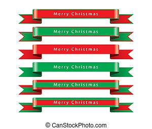 fröhlich, vektor, satz, weihnachten, geschenkband