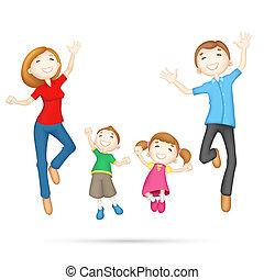Fröhliche 3D-Familie