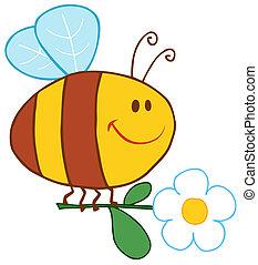 Fröhliche Biene fliegt mit Blumen