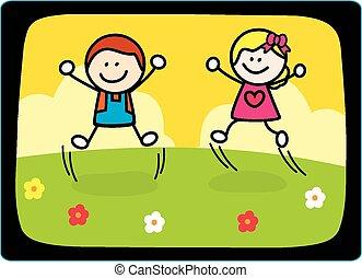 Fröhliche Kinder, die spielen.