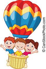 Fröhliche Kinder-Karikaturen, die heisse Luft schnappen.