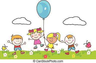Fröhliche Kinder spielen Ballon im Park.