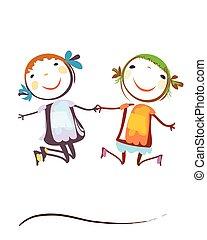 Fröhliche Kinder springen.
