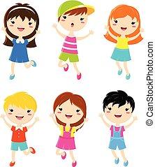 Fröhliche Kinder springen