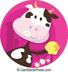 Fröhliche Kuhfigur mit Glöckchen