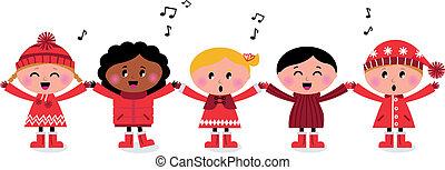 Fröhliche lächelnde, multikulturelle Kinder singendes Lied