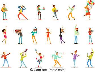 Fröhliche Leute feiern, Geschenke geben und Spaß an einem Geburtstags-Party-Set farbiger Zeichen Vektor Illustrations.