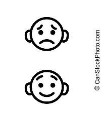 Fröhliche und traurige Smile Cartoon Icons gesetzt. Kleiner Kopf-Emoji in verschiedenen Stimmungen. Vector Icons Sammlung isoliert.