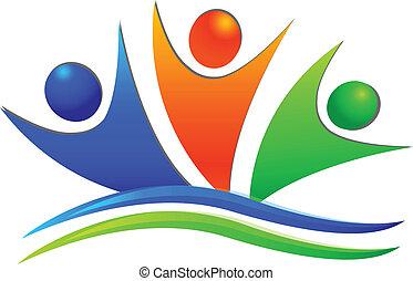 Fröhliches Teamwork-Logo