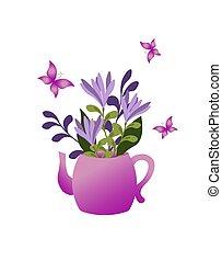 frühjahrsblumen, teekanne, blumengebinde, butterflies., karte