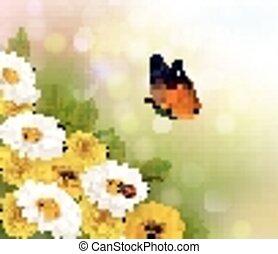 Frühling. Blumen und ein Schmetterling. Vector.