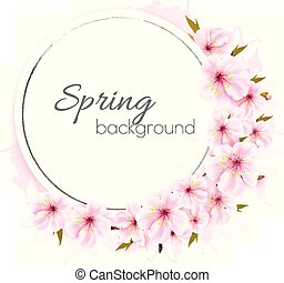 Frühlings Hintergrund mit rosa Blüten. Vector.