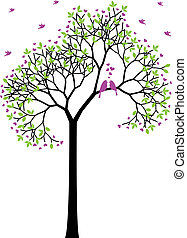 Frühlingsbaum mit Liebesvögeln, Vektor