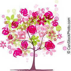 Frühlingsbaum mit Rosen für Ihr Design.