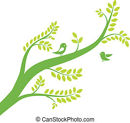 Frühlingsbaum mit Vögeln. Vektor Illustration