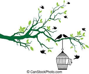 Frühlingsbaum mit Vogelkäfig und Vögeln
