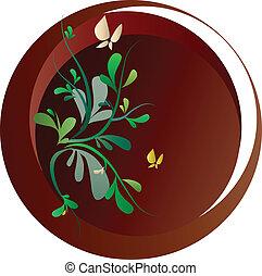 Frühlingsblumen und Schmetterlinge auf braunem Hintergrund, Vektorgrafik.