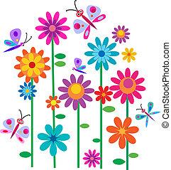 Frühlingsblumen und Schmetterlinge