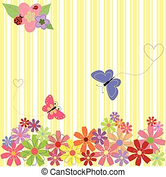 Frühlingsblumen und Schmetterlinge im gelben Streifen Hintergrund