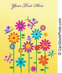 Frühlingsblumen und Schmetterlinge mit einem Ort für deine SMS