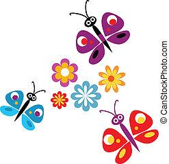 Frühlingsblumen und Schmetterlinge, Vektor-Illustration