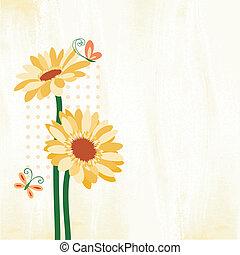 Frühlingsfarbene Daisy-Blume mit Schmetterling.