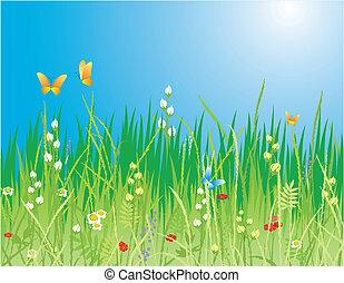 Frühlingsrollen. Blumen, Schmetterlinge und Gras - Vector
