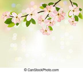 Frühlingsrollen mit blühenden Baumbrunch mit Frühlingsblumen. Vektor Illustration.
