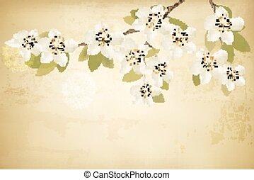 Frühlingszweige mit Blumen im Vintage Hintergrund. Vector.
