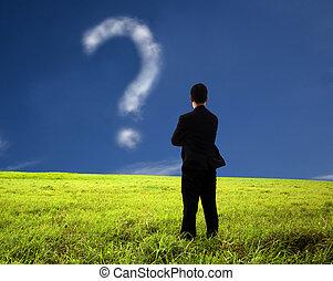 frage, geschäftsmann, zusammensetzung, denken, mark., wolke, aufpassen