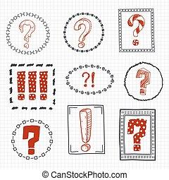 Fragen und Ausrufezeichen auf der Hand gezeichnet