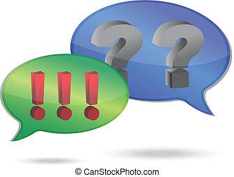 Fragen und Ausrufezeichen