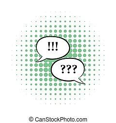 Fragen und Ausrufezeichen Symbol, Comics Stil.