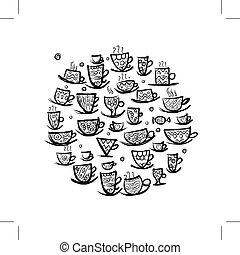 Frame mit ornate Tassen. Sketch für dein Design