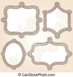 Frames henna Doodles Vektorset.