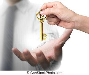 frau, geben, schatz, dollar- zeichen- schlüssel, hand, mann