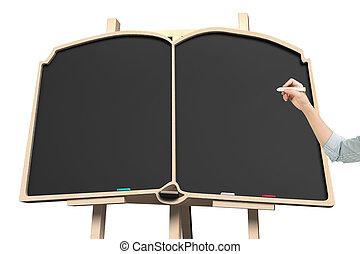 Frau Hand halten Kreide mit Tafel in Buchform.