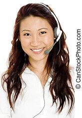 Frau im Headset