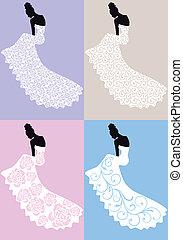 Frau im Hochzeitskleid, Vektor