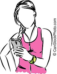 Frau mit intelligentem Telefon.