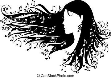 Frau mit Musiknotizen