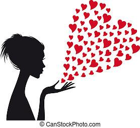 Frau mit roten Herzen, Vektor.
